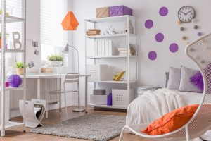 Purple and orange details in teenager's bedroom