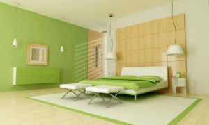 Green modern bedroom with shower - 3d rendering